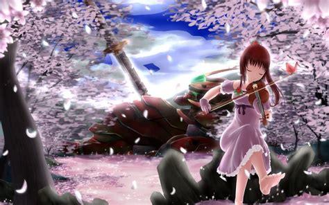 anime wallpaper violin red hair anime girl play violin sakura petals trees