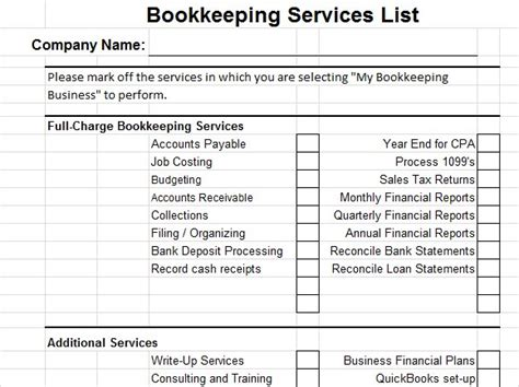 for bookkeeping services template starting a bookkeeping business