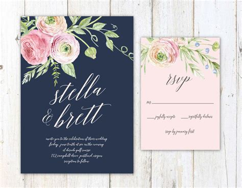 Navy And Blush Wedding Invitations navy blush and wedding invitation by