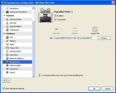 parallels management console parallel port settings