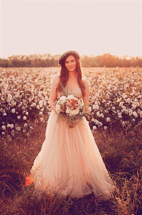 cotton field wedding inspiration gold pink wedding