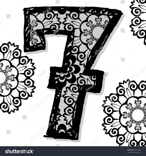 doodle numbers openwork numerals doodle number seven stock photo
