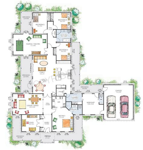 floor plan friday style country home with workshop