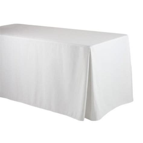 Linen Table Skirts by White Corner Pleated Fitted Table Skirt Cotton Rectangle