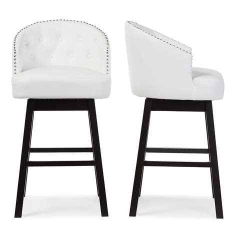 Black Nailhead Bar Stools by Furniture Awesome White Faux Leather Swivel Tufted