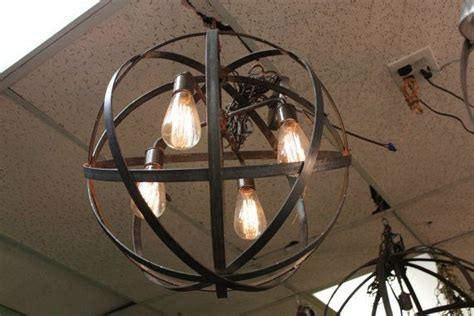 Orb Chandelier Industrial Sphere 18 Quot With 3 Sockets Metal Wine Sphere Chandelier