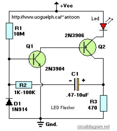 transistor led circuit led flasher 2 transistors schematic design