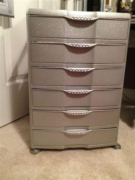 Plastic Storage Dresser plastic 6 drawer bin from walmart spray paint glitter and stickers great for