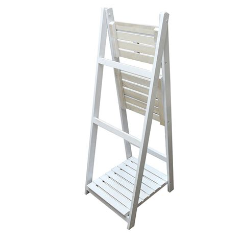 3 Tier Planter Stand by Wooden White Garden Home Plant Pot Rack 3 Tier Shelf