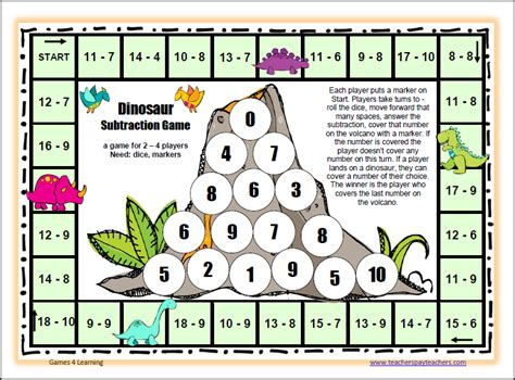 subtraction printable board games fun games 4 learning board games aren t boring