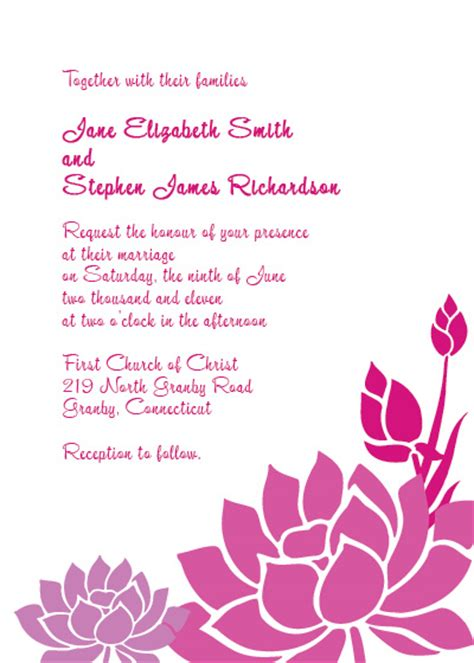 flower invitations templates free lotus flower wedding invitation wedding invitation