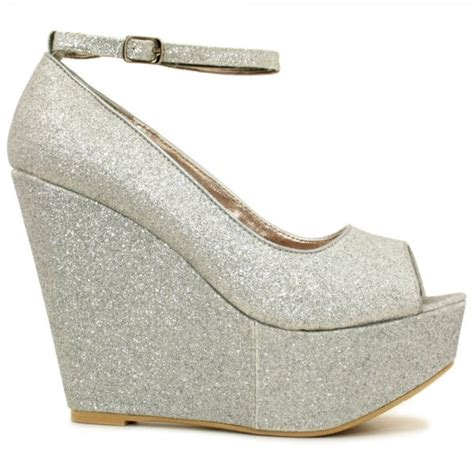 womens silver glitter wedge platform heel ankle buckle
