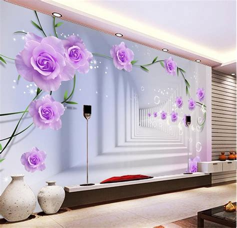 3d Wall Designs Bedroom Photo Wallpaper Custom 3d Wall Murals Purple Flowers Wallpaper Bedroom Interior
