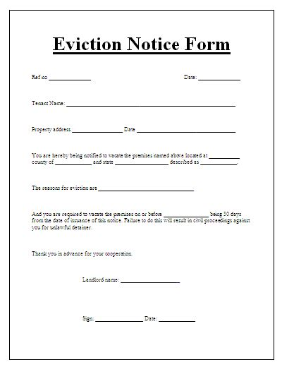 printable sle eviction notices form sle template