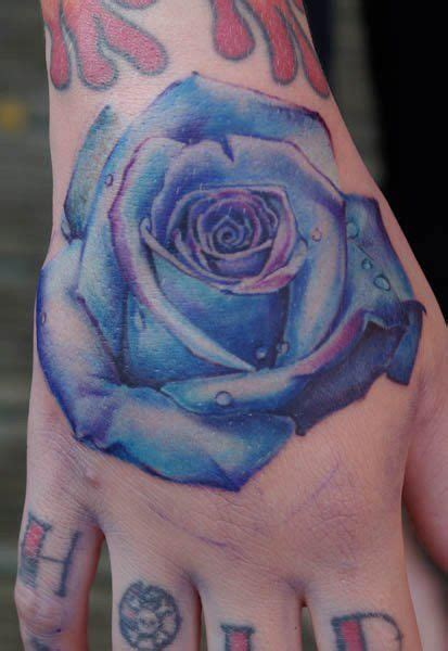 blue rose tattoo denver electric blue and realistic done on a
