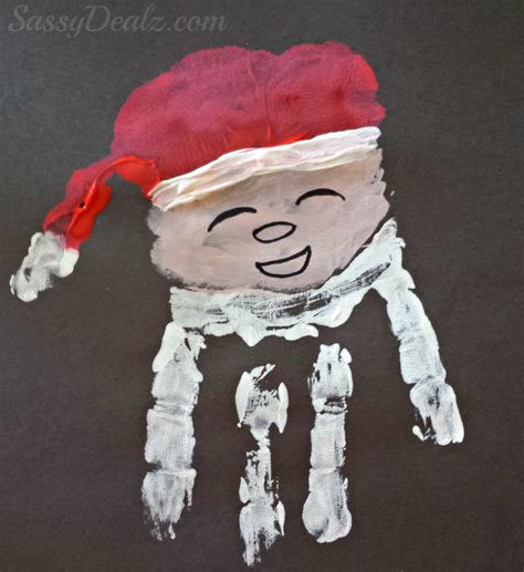 hands on crafts for christmas in the morning santa claus handprint craft for crafty morning