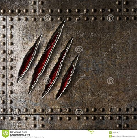 claw scratches on armor metal wall stock photo image