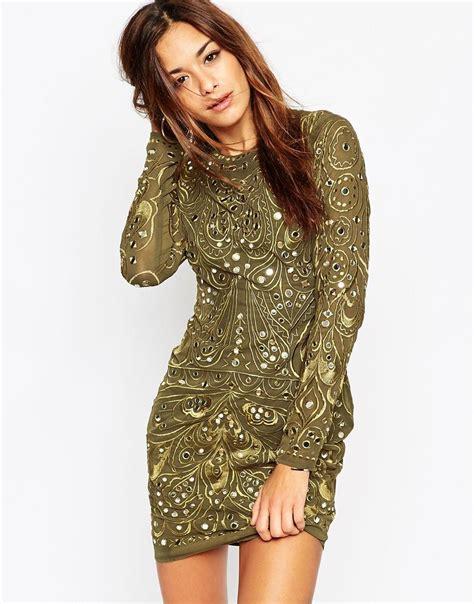 Embellished Sleeve Dress lyst asos khaki embellished and embroidered sleeved