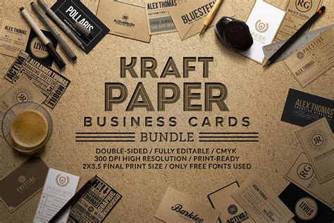 mini business card paper template printer kraft paper business cards bundle business card
