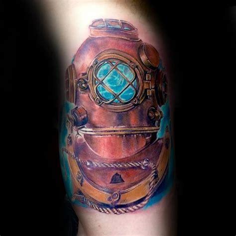 diving helmet tattoo 60 diving helmet designs for sea ideas