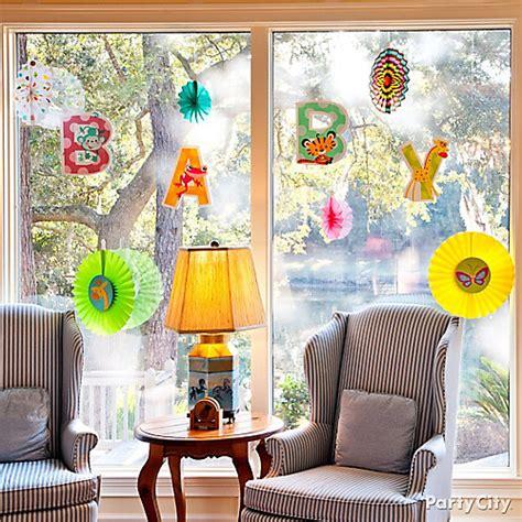 hanging window decorations jungle baby shower window idea jungle animals baby