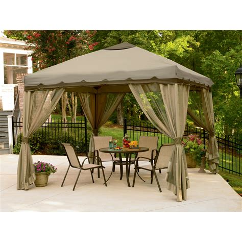 Patio Gazebos And Canopies Dc America Hexagon Gazebo With Insect Screen Black Outdoor Living Gazebos Canopies