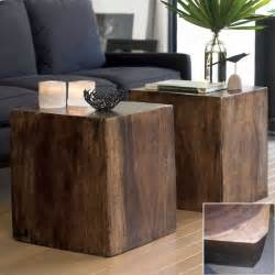 Uttermost Tables Convertible Wood Cube Contemporary Side Tables And End