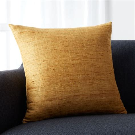 Trevino Yellow Silk Pillow   Crate and Barrel