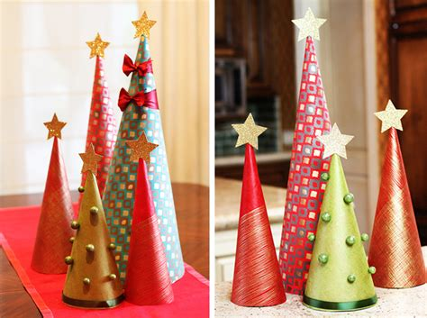 how to make wrapping paper tree decorations