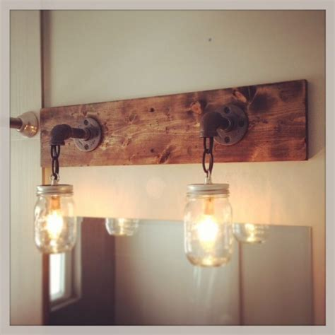 Wood Bathroom Light Fixtures | industrial rustic modern wood handmade mason jar light