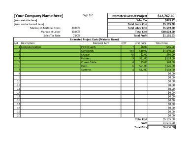 project estimate spreadsheet for excel estimate template