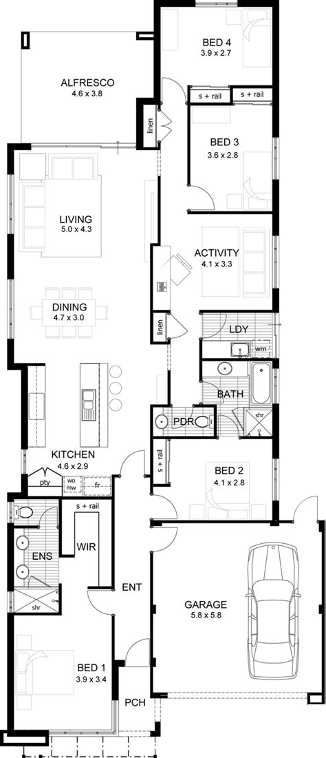 House Floor Plans For Narrow Lots 1000 Images About Single Storey Floor Plans Narrow Lot