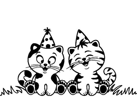 birthday cat coloring page birthday cats coloring page coloringcrew com