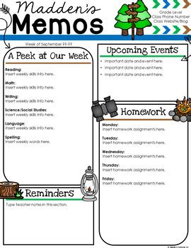 camping newsletter template teachers clubhouse tpt