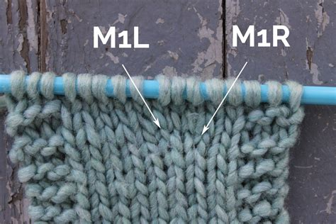 m1 knit make 1 knitting increase m1 m1l and m1r tutorial