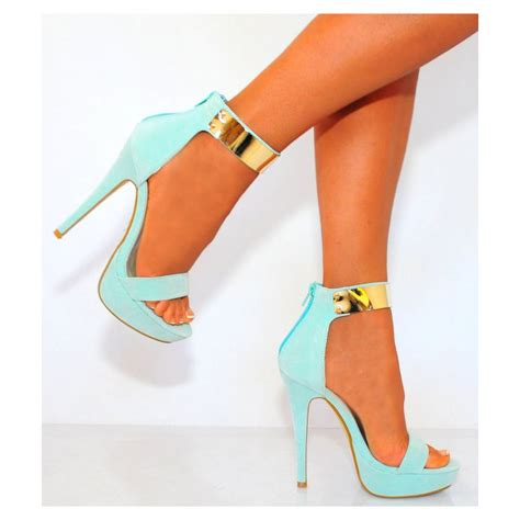 mint colored heels mint green strappy sandals gold cuff platforms high