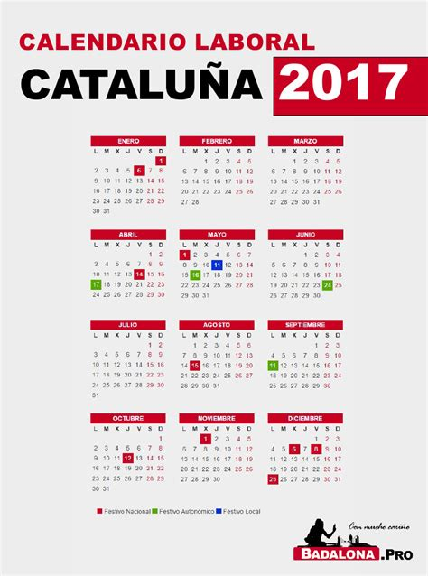 Calendario Laboral De 2017 Calendario Laboral 2017 Catalu 241 A Badalona