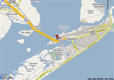 galveston map map of hotels in galveston