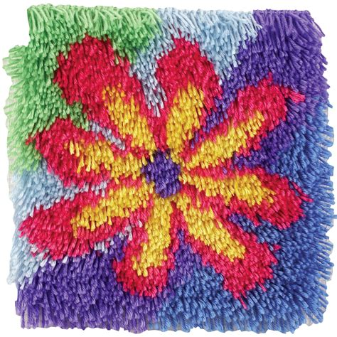 latch rug kits flower power shaggy latch hook kit at weekend kits