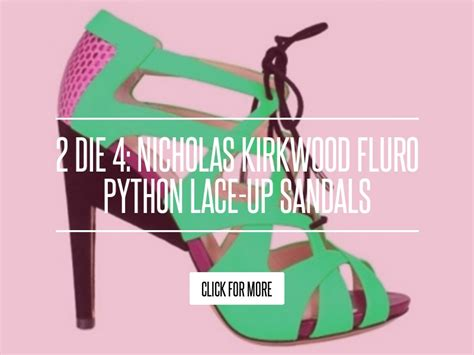 2 Die 4 Nicholas Kirkwood Fluro Python Lace Up Sandals by 2 Die 4 Nicholas Kirkwood Fluro Python Lace Up Sandals