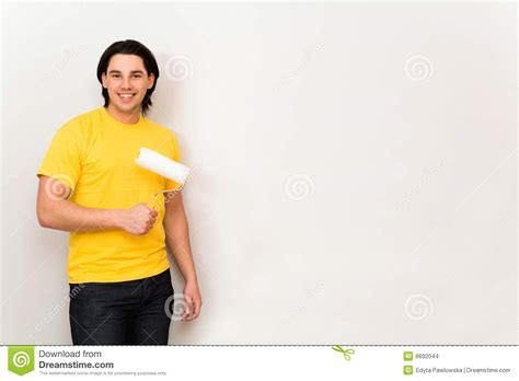 paint man man holding paint roller stock images image 8692044