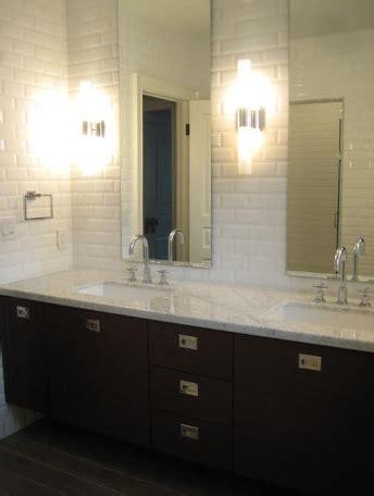 ferreiras bathrooms beveled subway tile backsplash contemporary bathroom