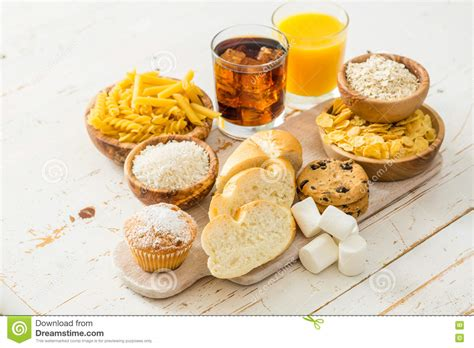 6 sources of carbohydrates selection of bad sources of carbohydrates stock photo