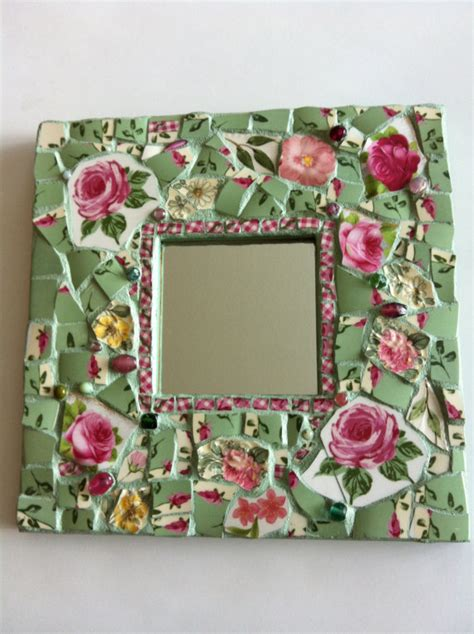 shabby chic roses mosaic mirror
