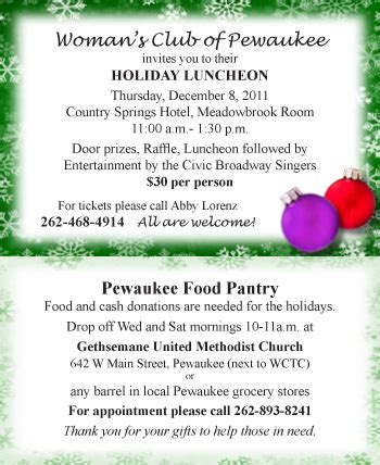 Pewaukee Food Pantry by December Newsletter