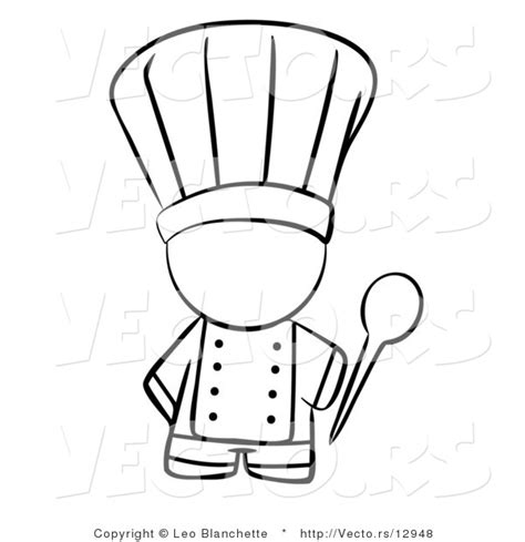 vector of chef holding a mixing spoon coloring page