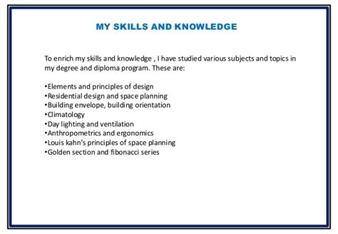 Interior Design Skills List by Bhavika Goyal B Sc Interior Design Presentation