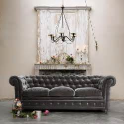 Chesterfield Grey Sofa D 233 Cor De Provence Grey Velvet