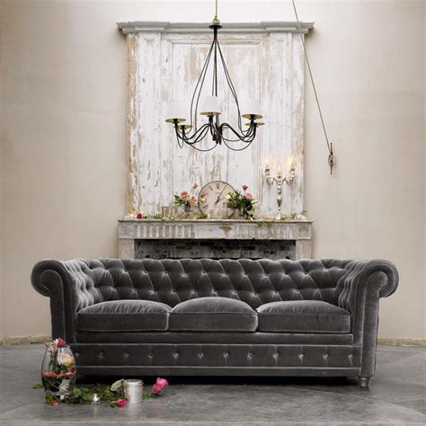 grey velvet tufted sofa d 233 cor de provence grey velvet