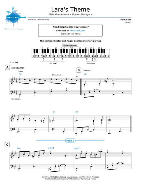 theme song dr zhivago piano sheet music lara s theme maurice jarre noviscore